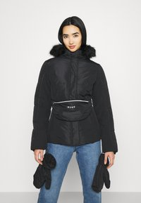 Missguided - SKI JACKET WITH MITTENS AND BUMBAG  - Winter jacket - black - 0