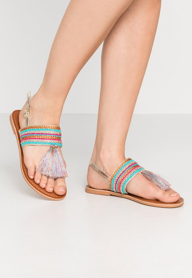SANTARINA FRINGE BEADED TOE POST - T-bar sandals - multicolor