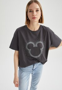 DeFacto - OVERSIZED - Print T-shirt - anthracite - 0