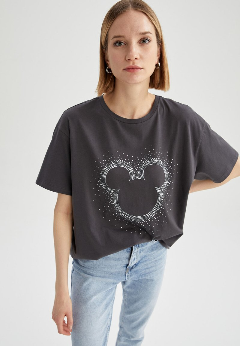 DeFacto - OVERSIZED - Print T-shirt - anthracite