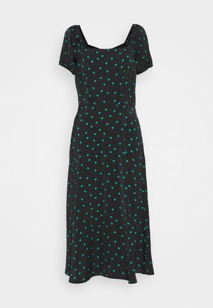 PUFF SLEEVE MIDI DRESS - Maxi dress - black/green