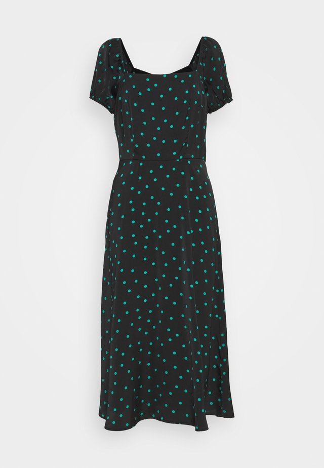 PUFF SLEEVE MIDI DRESS - Robe longue - black/green