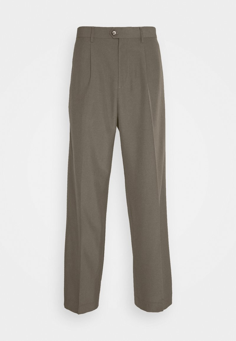 Weekday - CONRAD WIDE TROUSERS - Trousers - brown/green