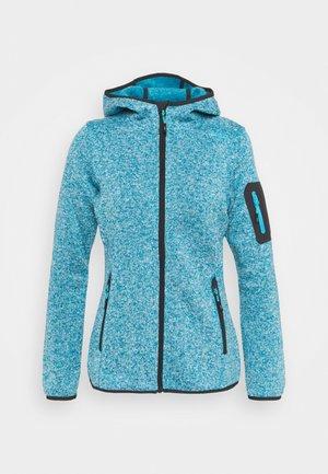 WOMAN FIX HOOD JACKET - Fleece jacket - lake/bianco