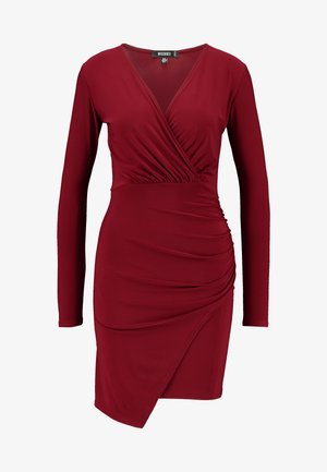 SLINKY WRAP OVER MINI DRESS - Shift dress - burgandy