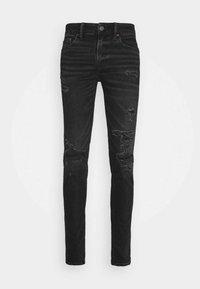 American Eagle - BLACK MENDED  - Slim fit jeans - black slash - 0