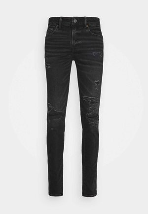 BLACK MENDED  - Vaqueros slim fit - black slash