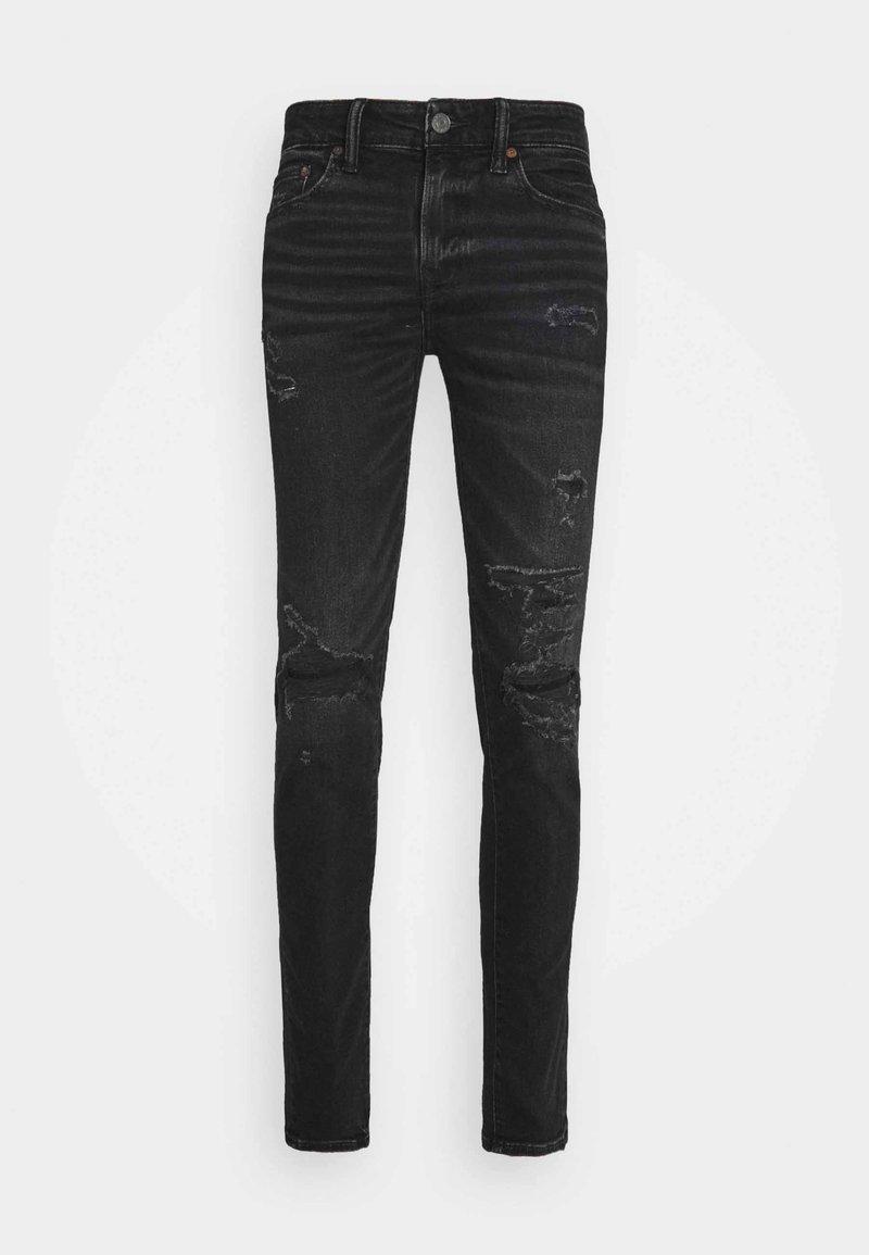 American Eagle - BLACK MENDED  - Slim fit jeans - black slash