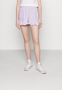 Hollister Co. - CHAIN RUFFLE HEM - Shorts - lavender gingham - 0