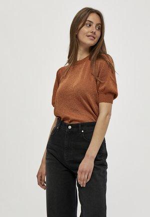 LIVA - T-shirt print - burned hazel lurex
