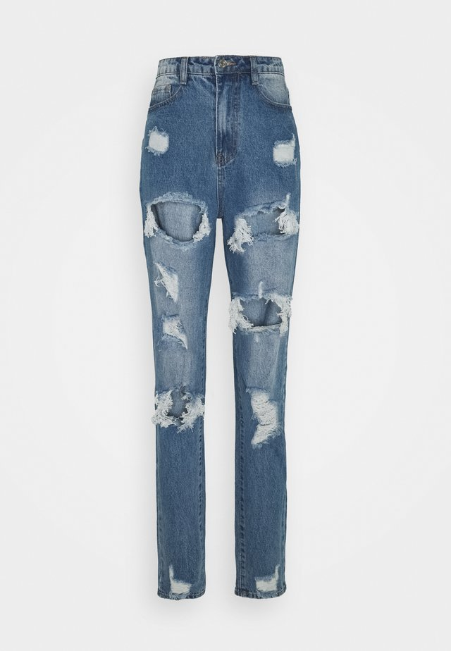 RIOT RIPPED MOM - Jeans baggy - blue