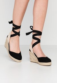 Lost Ink - ANKLE WRAP WEDGE  - High heeled sandals - black - 0