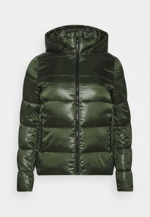 SHINY SHORT PUFFER - Winter jacket - khaki