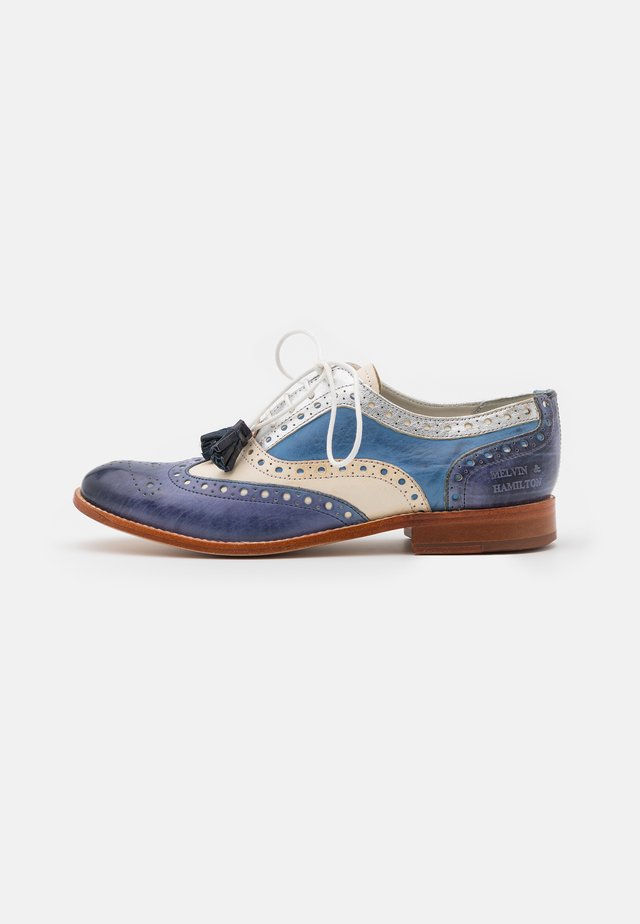 AMELIE 70 - Veterschoenen - moroccan blue/tan/silver/white/natural
