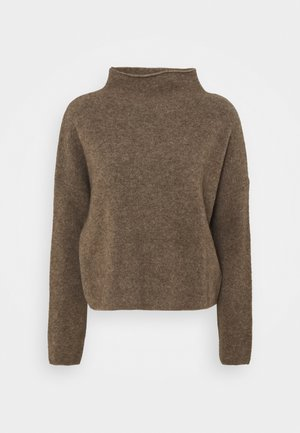 MIKA FUNNEL NECK - Strickpullover - dark taupe mel