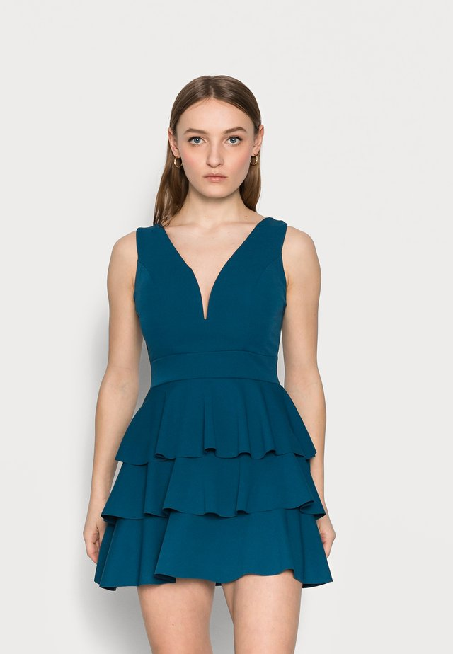 V NECK DOUBLE DRILL DRESS - Cocktail dress / Party dress - teal blue