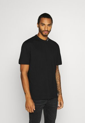 COLLAR INTARSIA TEE UNISEX - Print T-shirt - black