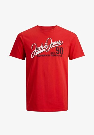 JJELOGO TEE O NECK - Print T-shirt - true red