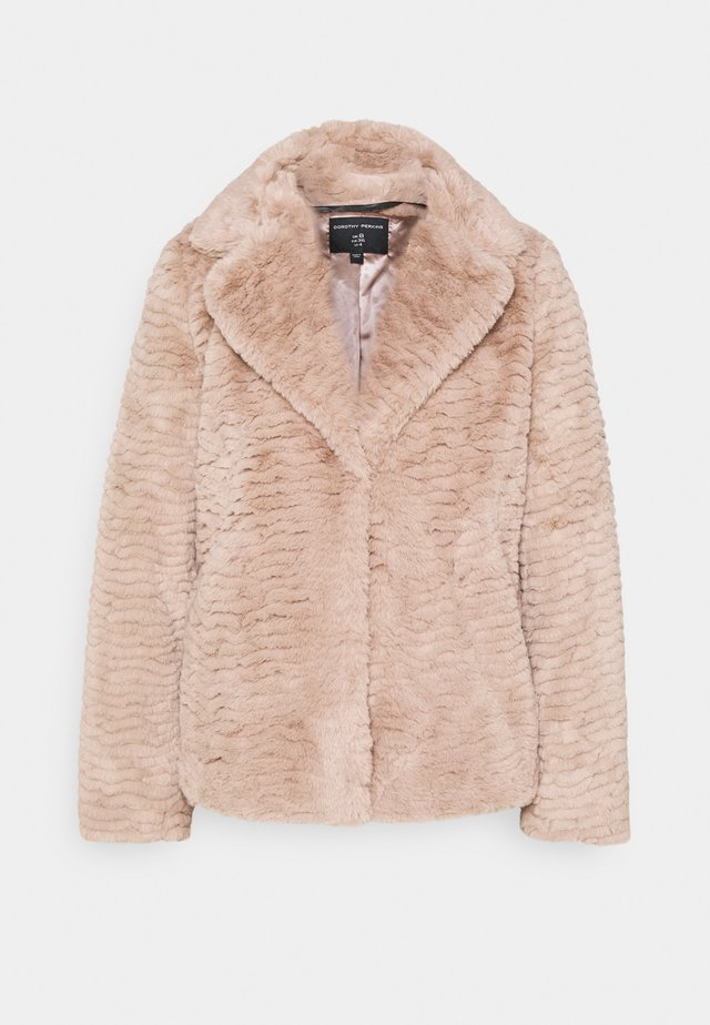 COLLAR AND REVERE TEXTURED COAT - Winterjas - mink