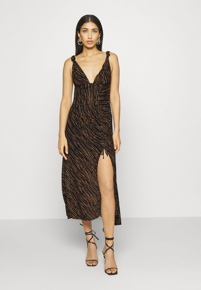 ZAHARA MIDI - Korte jurk - black/brown
