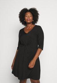 CAPSULE by Simply Be - TWIST FRONT SWING DRESS - Žerzejové šaty - black - 0