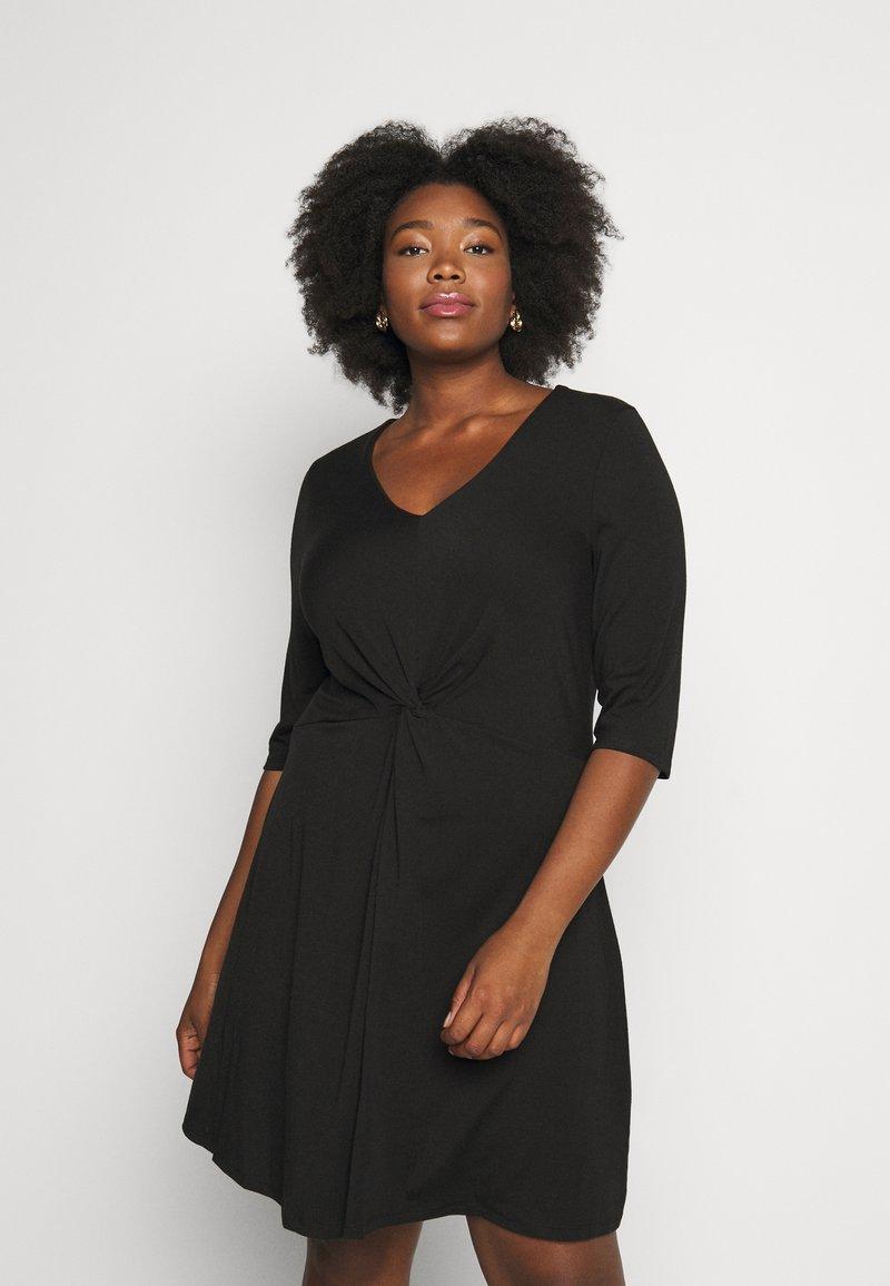 CAPSULE by Simply Be - TWIST FRONT SWING DRESS - Žerzejové šaty - black