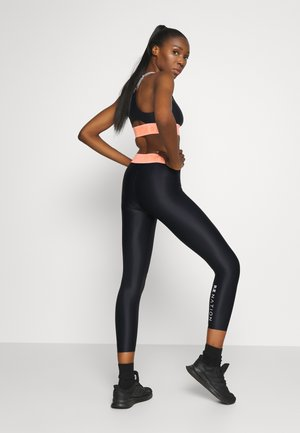 FRONT SIDE LEGGING - Leggings - black/coral