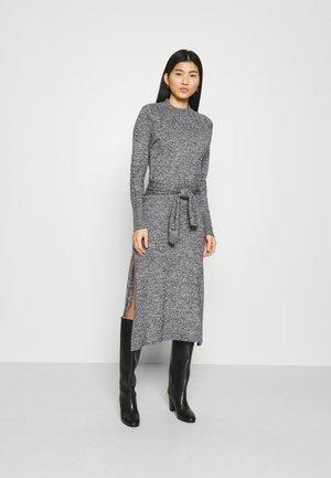 TIE WAIST DRESS - Jumper dress - black marl