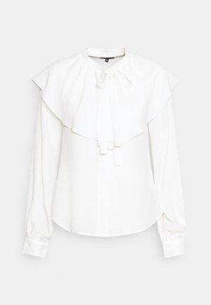 RUFFLE NECK - Blouse - white