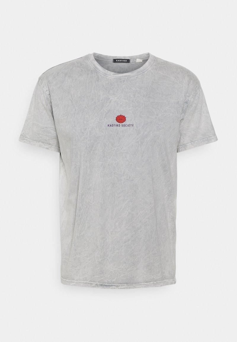 Kaotiko - WASHED LOTUS BLOOM  - T-shirt con stampa - acero