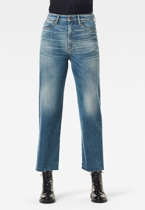 TEDIE ULTRA HIGH STRAIGHT  RIPPED ANKLE - Slim fit jeans - faded spruce blue