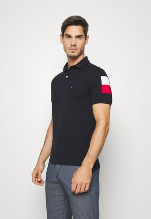 SLEEVE COLOR BLOCK SLIM - Koszulka polo - blue