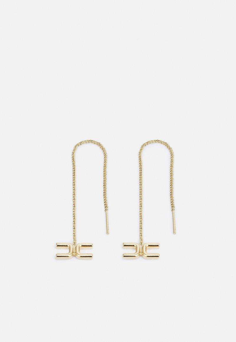 Elisabetta Franchi - MICRO LOGO EARRINGS WITH CHAIN - Earrings - oro light