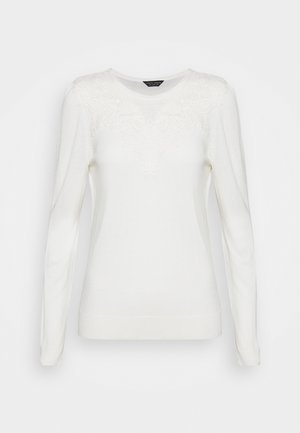 YOKE LACE CREW NECK JUMPER - Neule - ivory