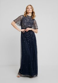 Maya Deluxe - HIGH NECK MAXI DRESS WITH OPEN BACK AND SCATTERED SEQUIN - Suknia balowa - navy - 0
