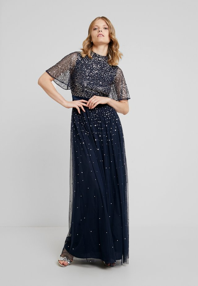 HIGH NECK MAXI DRESS WITH OPEN BACK AND SCATTERED SEQUIN - Gallakjole - navy