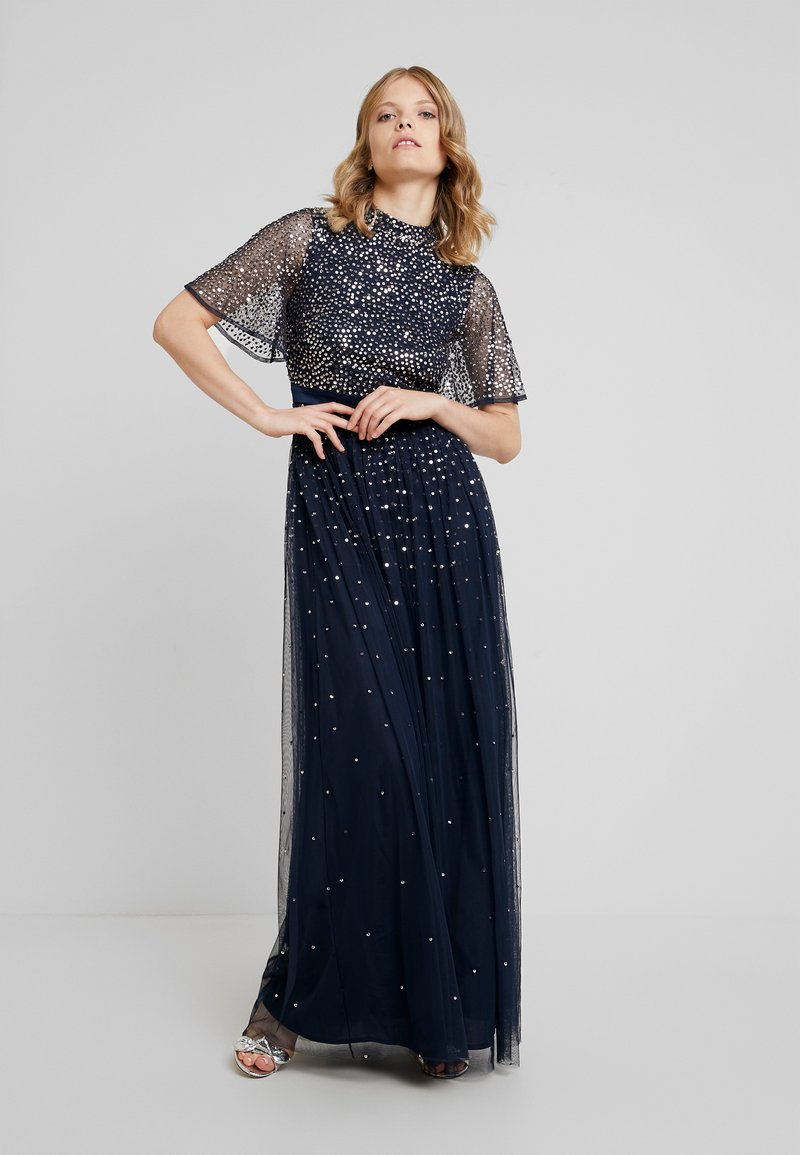 Maya Deluxe - HIGH NECK MAXI DRESS WITH OPEN BACK AND SCATTERED SEQUIN - Suknia balowa - navy