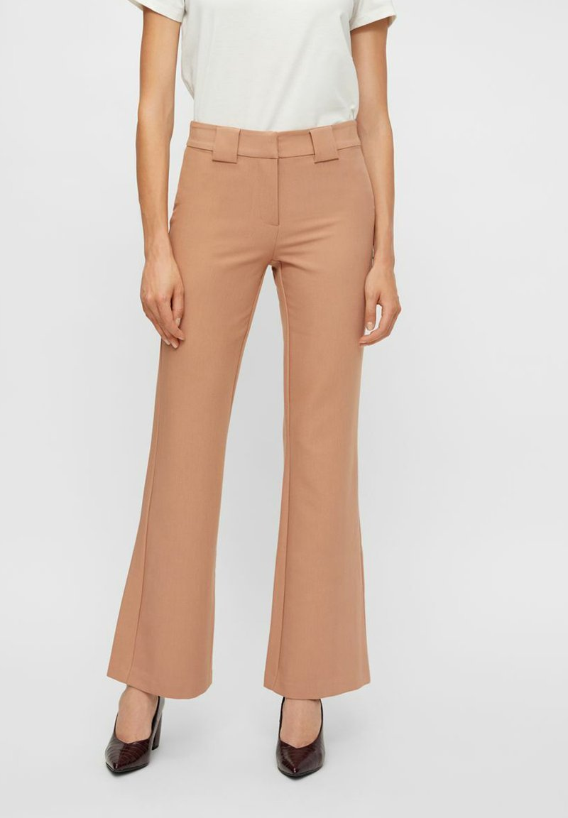 YAS - YASNUTEO FLARE PANT - Trousers - tawny brown