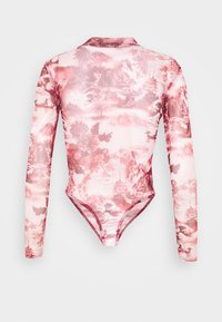 Missguided Petite - ORIENTAL GRAPHIC HIGH NECK MESH BODY - Long sleeved top - pink - 1