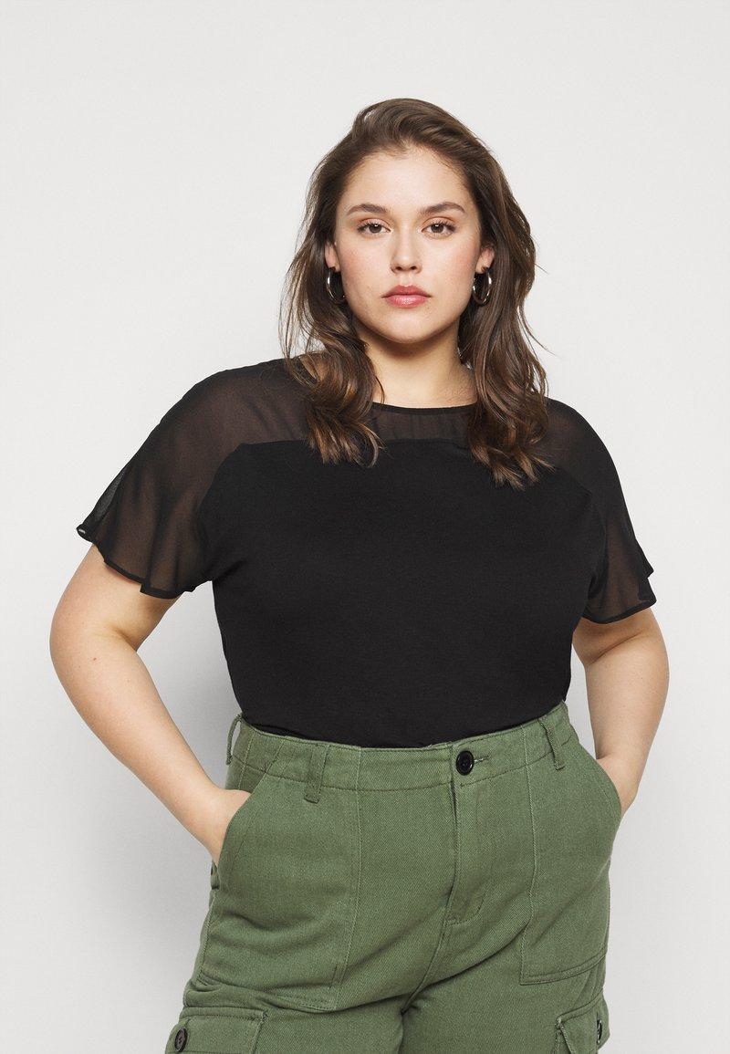 Evans - SHEER YOKE  - Print T-shirt - black