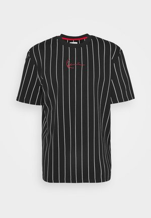 SMALL SIGNATURE PINSTRIPE TEE UNISEX - Print T-shirt - black/white