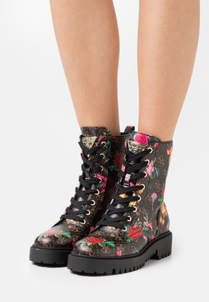 OLINIA - Lace-up ankle boots - black/multicolor