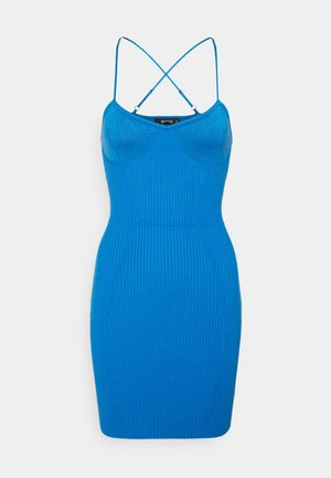 CROSS FRONT BODYCON DRESS - Jumper dress - blue