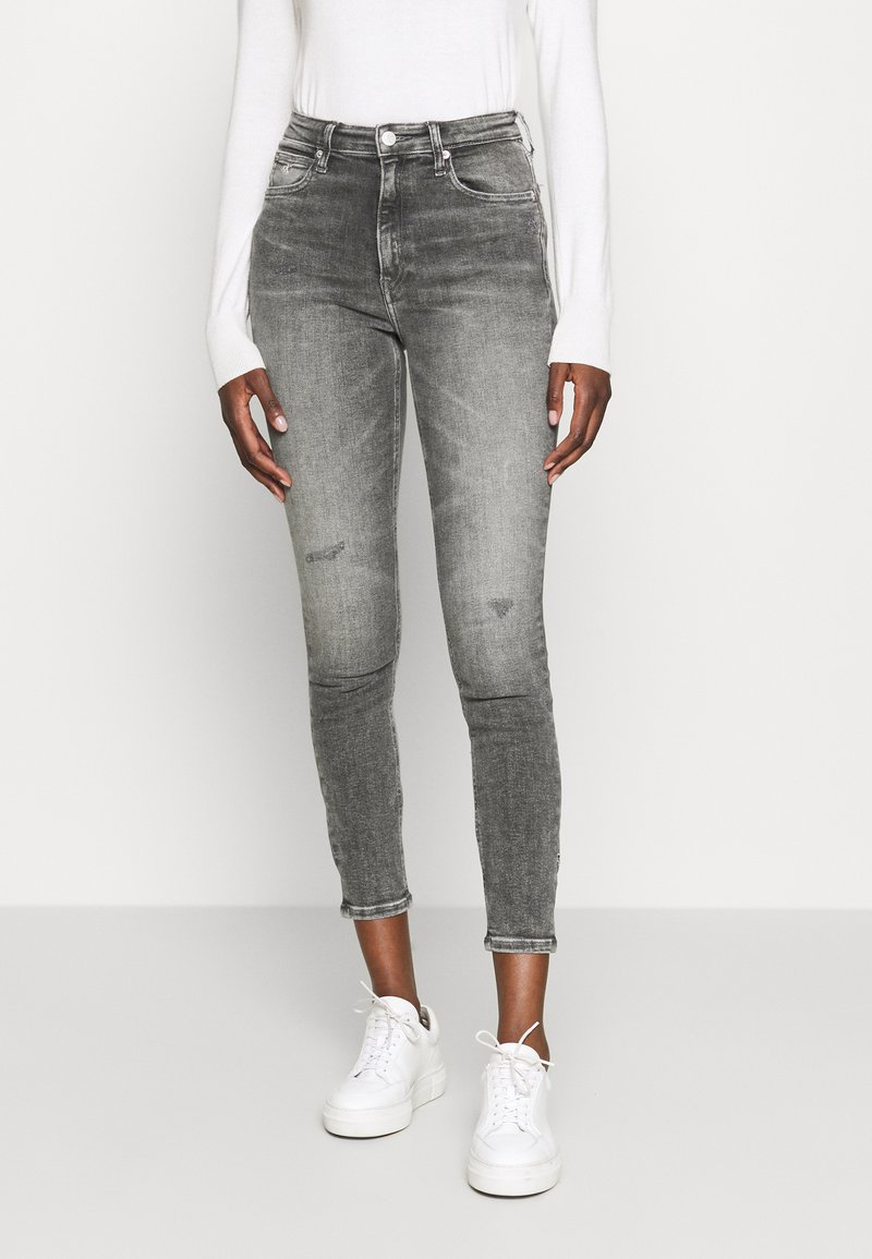 Calvin Klein Jeans - HIGH RISE SKINNY ANKLE - Jeansy Skinny Fit - grey embro