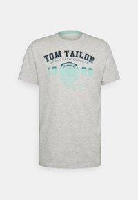 TOM TAILOR - LOGO TEE - Print T-shirt - blanc de blanc white melange - 0