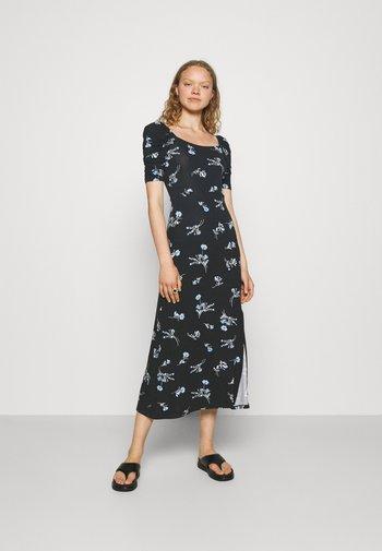 FLORAL DRESS - Vestito lungo - black