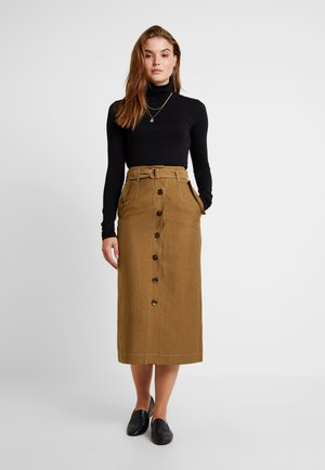 UTILITY BUTTON MIDI - Pencil skirt - olive