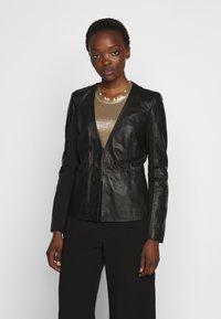 Pinko - BRADLEY JACKET - Leather jacket - black - 0