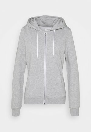 BASIC SWEAT JACKET WITH CONTRAST CORDS REGULAR FIT - Mikina na zip - mottled light grey