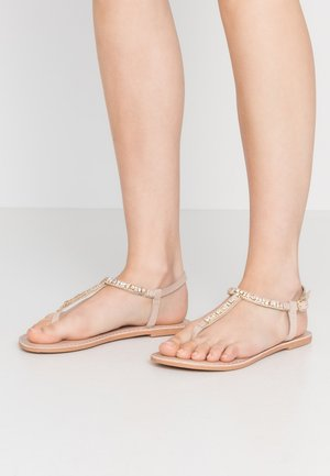 WIDE FIT JULES FLOWER TOESPORT - T-bar sandals - nude